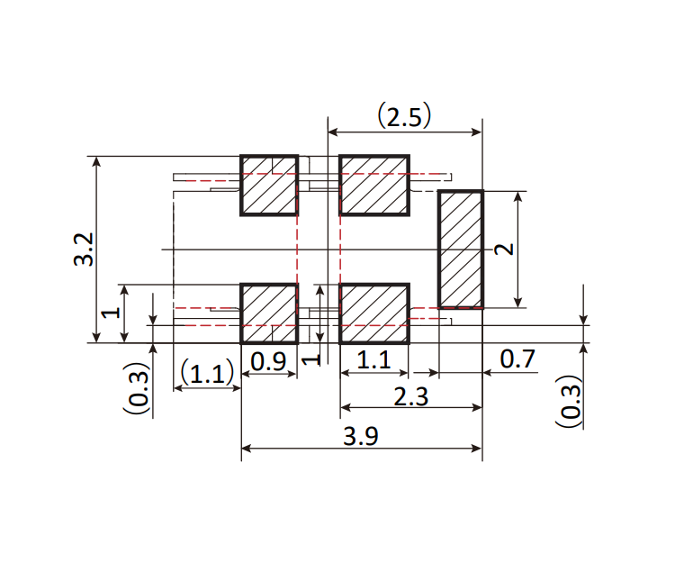 OG-503253-A: Pad and Mask Dimensions (mm)